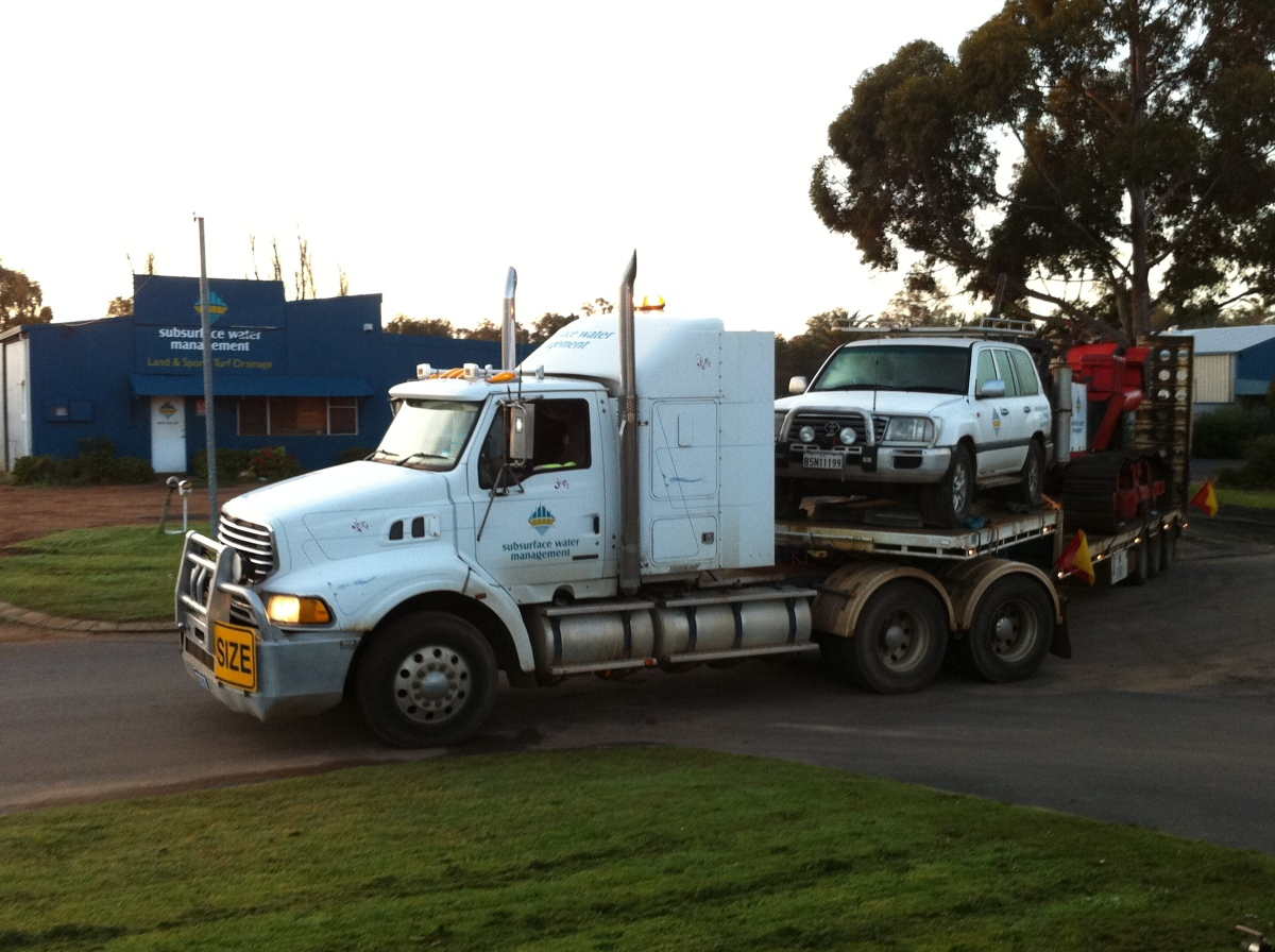 Truck / Road Train / B-Double / B-Triple performing irrigation, drainage, dewatering pipeline logistics
